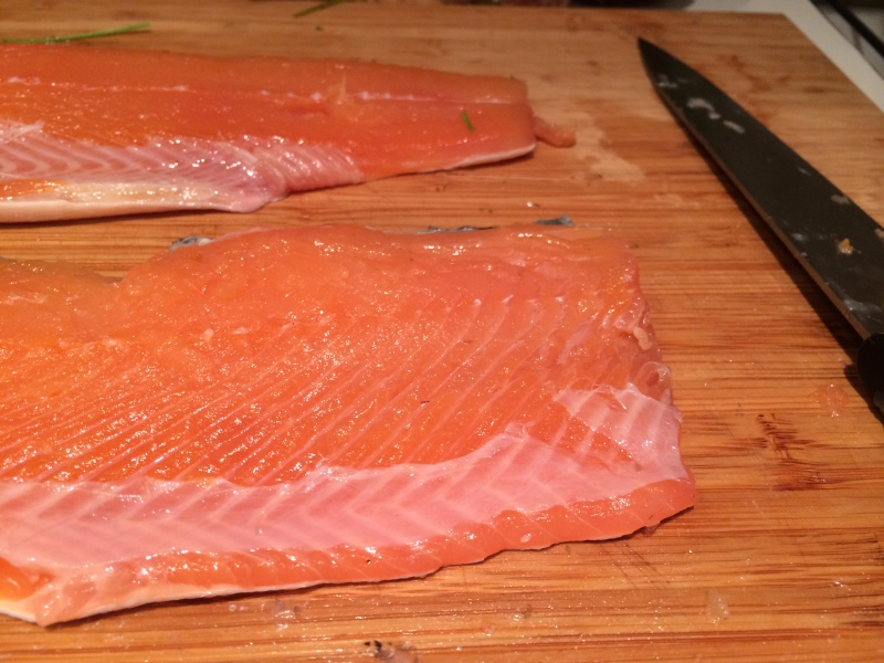 Cut some fillets from your trout. Look at the red meat of that trout! OOHWEE!