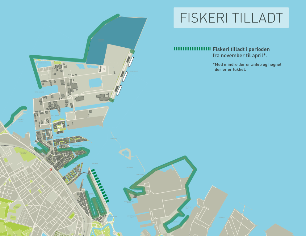 Map of where you can fish in Copenhagen